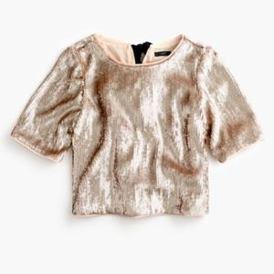 J. Crew 16 NWT Cropped sequin top rose gold NEW